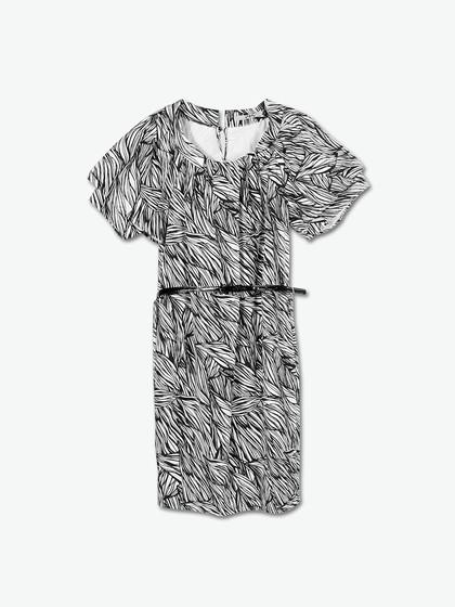 ph5 黑白花卉满印短袖连衣裙