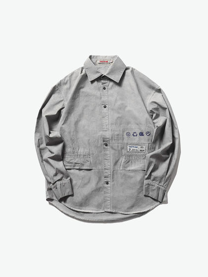 THETHING|男款|襯衫|THETHING 做舊拼接長袖襯衫