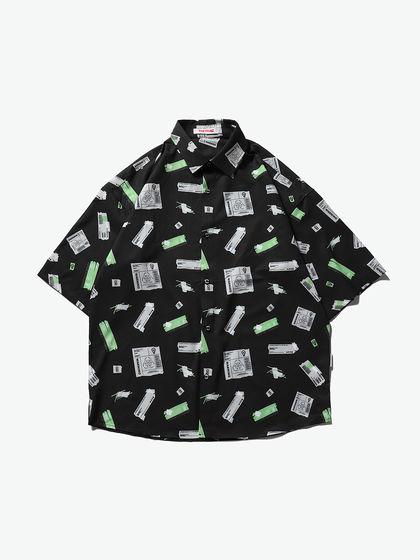 THETHING 男款 襯衫 THETHING 膠帶滿印短袖襯衫