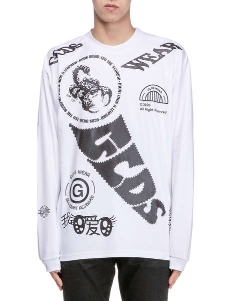 GCDS|GCDS|男|长袖T恤|GCDS ELEMENTS LONG SLEEVES TEE 01 WHITE